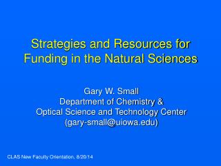 Strategies and Resources for Funding in the Natural Sciences