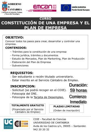 CURSO CONSTITUCIÓN DE UNA EMPRESA Y EL PLAN DE EMPRESA