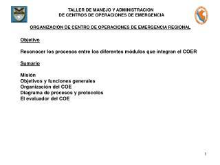 ORGANIZACI�N DE CENTRO DE OPERACIONES DE EMERGENCIA REGIONAL