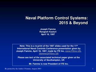 Naval Platform Control Systems:  2015  Beyond