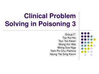 Clinical Problem Solving in Poisoning 3