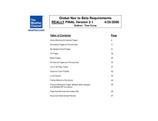 Global Nav to Beta Requirements REALLY  FINAL Version 2.1            4/25/2006 Author:  Tom Cona