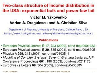 Two-class structure of income distribution in the USA: exponential bulk and power-law tail