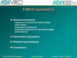 VIRGO Automation  General automation -  sequence to achieve the Science Mode -  short history