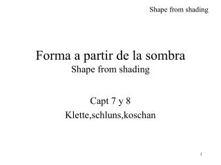 Forma a partir de la sombra  Shape from shading