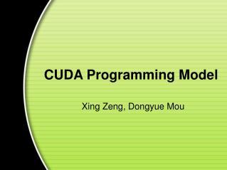 CUDA Programming Model