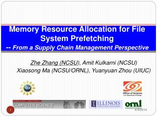 Memory Resource Allocation for File System Prefetching -- From a Supply Chain Management Perspective