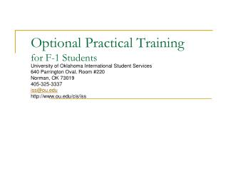 Optional Practical Training for F-1 Students