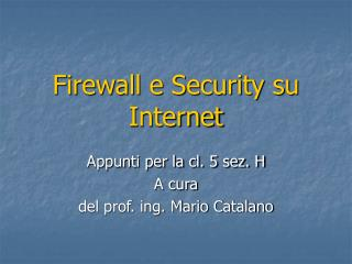 Firewall e Security su Internet