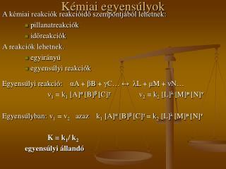 Kémiai egyensúlyok