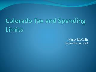 Colorado Tax and Spending Limits