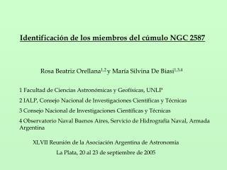 Identificación de los miembros del cúmulo NGC 2587