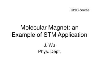 Molecular Magnet: an Example of STM Application