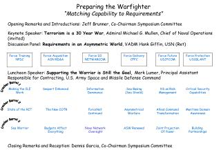 "Preparing the Warfighter ""Matching Capability to Requirements"""