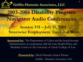2003-2004 Disability Program Navigator Audio Conferences