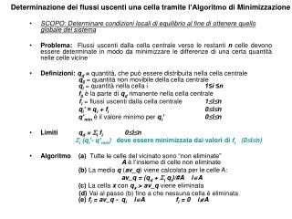 Determinazione dei flussi uscenti una cella tramite l'Algoritmo di Minimizzazione