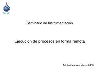 Seminario de Instrumentación Ejecución de procesos en forma remota Adolfo Castro – Marzo 2006