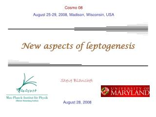 New aspects of leptogenesis