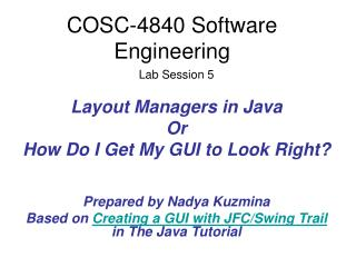 COSC-4840 Software Engineering