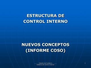 ESTRUCTURA DE  CONTROL INTERNO NUEVOS CONCEPTOS  (INFORME COSO)
