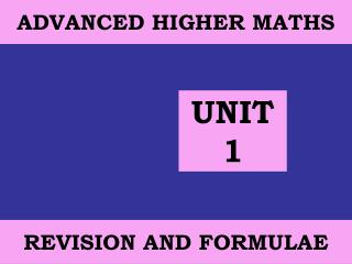 ADVANCED HIGHER MATHS