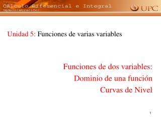 Unidad 5:  Funciones de varias variables