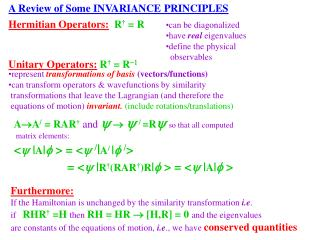 A Review of Some INVARIANCE PRINCIPLES