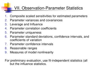 VII. Observation-Parameter Statistics
