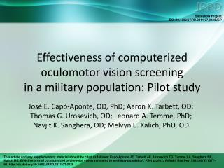 Effectiveness of computerized oculomotor vision screening  in a military population: Pilot study