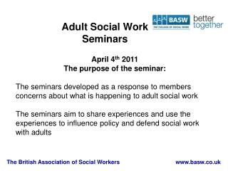 Adult Social Work  Seminars