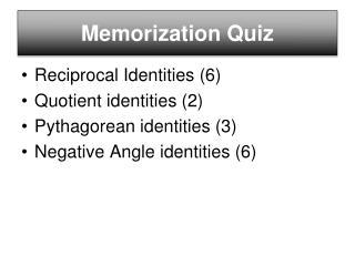 Memorization Quiz