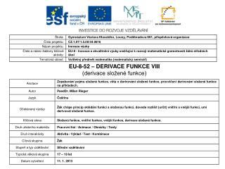 EU-8-52 – DERIVACE FUNKCE VIII (derivace složené funkce)
