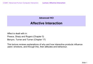 Advanced HCI Affective Interaction