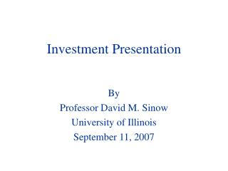 Investment Presentation