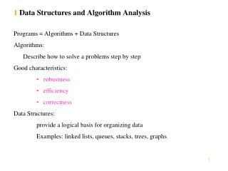 1  Data Structures and Algorithm Analysis