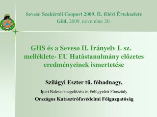 Seveso Szakértői Csoport 2009. II. félévi Értekezlete Göd,  2009. november 20.