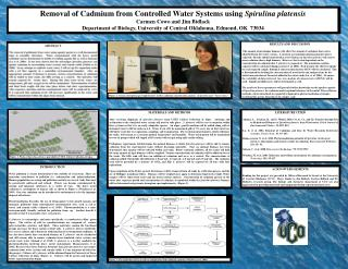 Removal of Cadmium from Controlled Water Systems using  Spirulina platensis