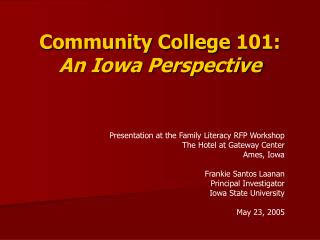 Community College 101: An Iowa Perspective