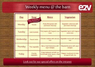 Weekly menu @ the barn