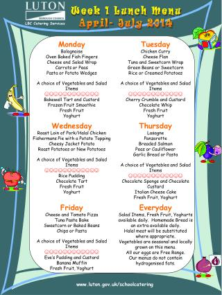 Week 1 Lunch Menu April- July 2014