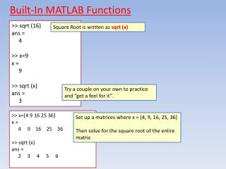 Built-In MATLAB Functions