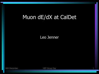 Muon dE/dX at CalDet
