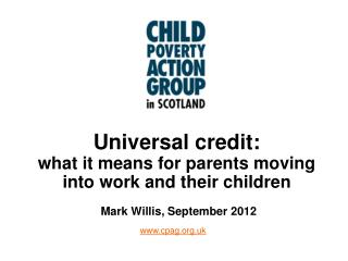 Universal credit: what it means for parents moving into work and their children