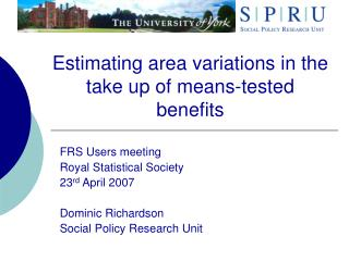 Estimating area variations in the take up of means-tested benefits