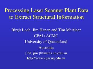 Processing Laser Scanner Plant Data to Extract Structural Information
