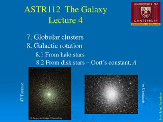 7. Globular clusters 8. Galactic rotation 8.1 From halo stars