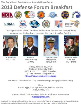 The  Combined  Professional Associations Group  2013 Defense  Forum Breakfast