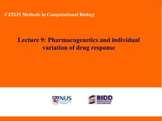 Lecture 9: Pharmacogenetics and individual variation of drug response