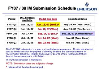 FY07 / 08 IM Submission Schedule