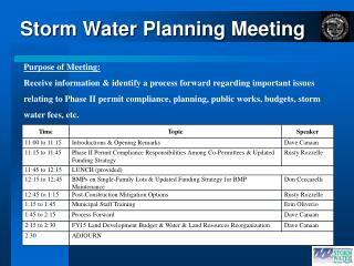 Storm Water Planning Meeting